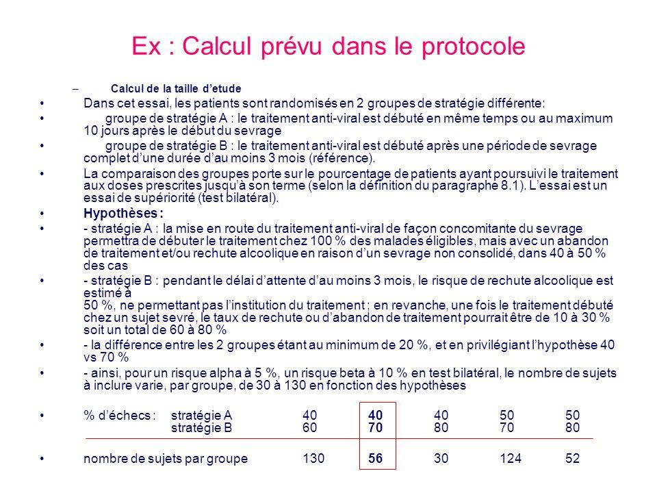 Ex : Calcul prévu dans le protocole