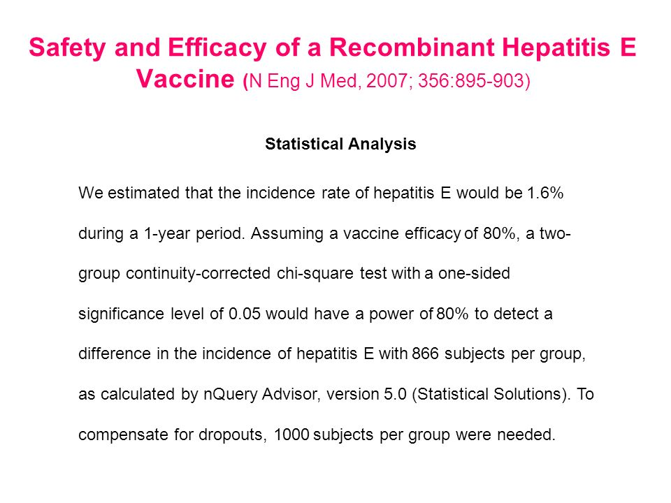 Safety and Efficacy of a Recombinant Hepatitis E Vaccine (N Eng J Med, 2007; 356:895-903)
