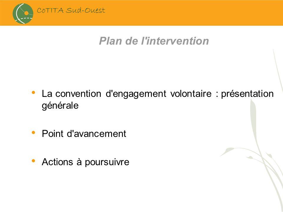 Plan de l intervention La convention d engagement volontaire : présentation générale. Point d avancement.
