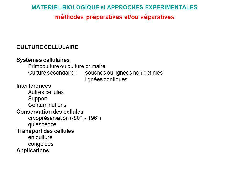 MATERIEL BIOLOGIQUE et APPROCHES EXPERIMENTALES méthodes préparatives et/ou séparatives