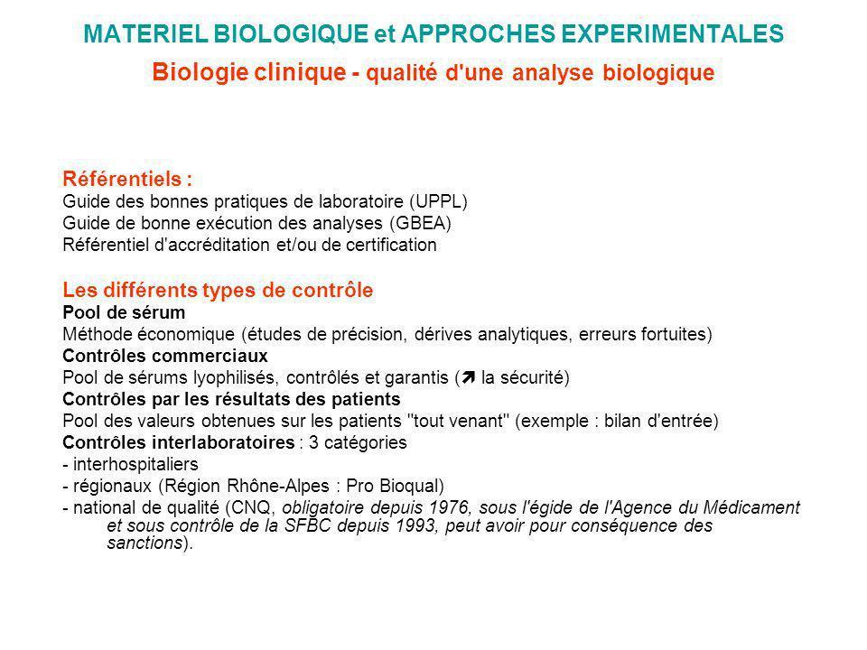 MATERIEL BIOLOGIQUE et APPROCHES EXPERIMENTALES Biologie clinique - qualité d une analyse biologique
