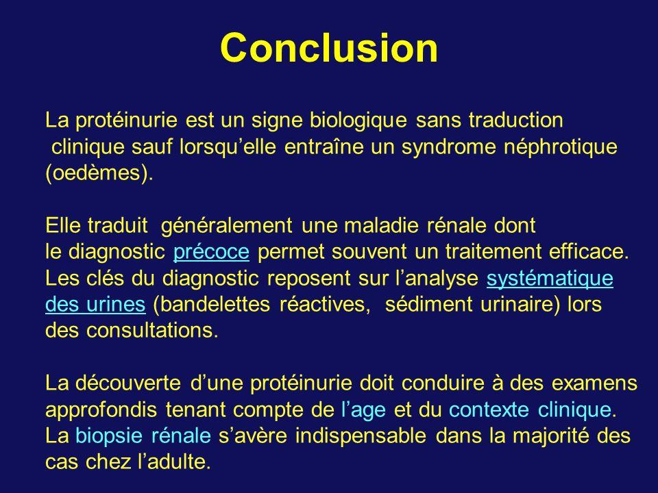 Conclusion La protéinurie est un signe biologique sans traduction