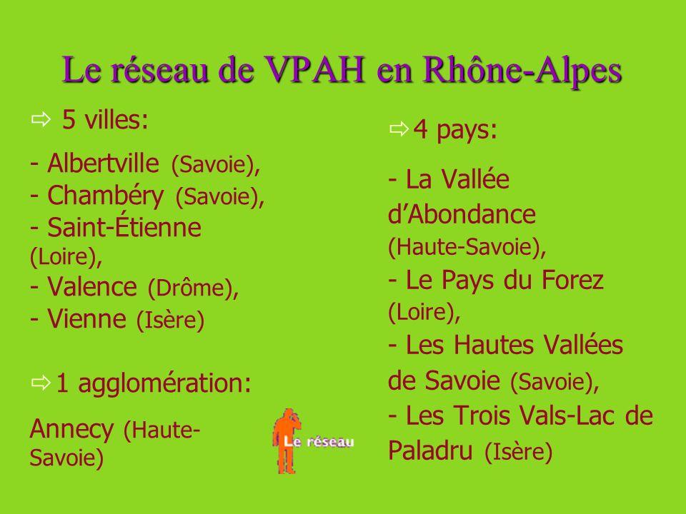 Le réseau de VPAH en Rhône-Alpes