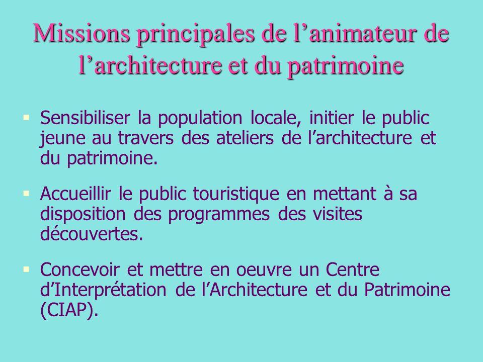 Missions principales de l'animateur de l'architecture et du patrimoine