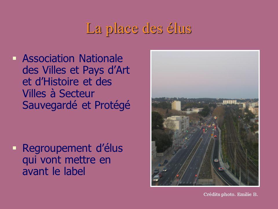 La place des élus Association Nationale des Villes et Pays d'Art et d'Histoire et des Villes à Secteur Sauvegardé et Protégé.
