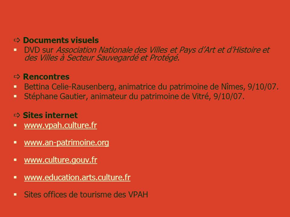  Documents visuels DVD sur Association Nationale des Villes et Pays d'Art et d'Histoire et des Villes à Secteur Sauvegardé et Protégé.
