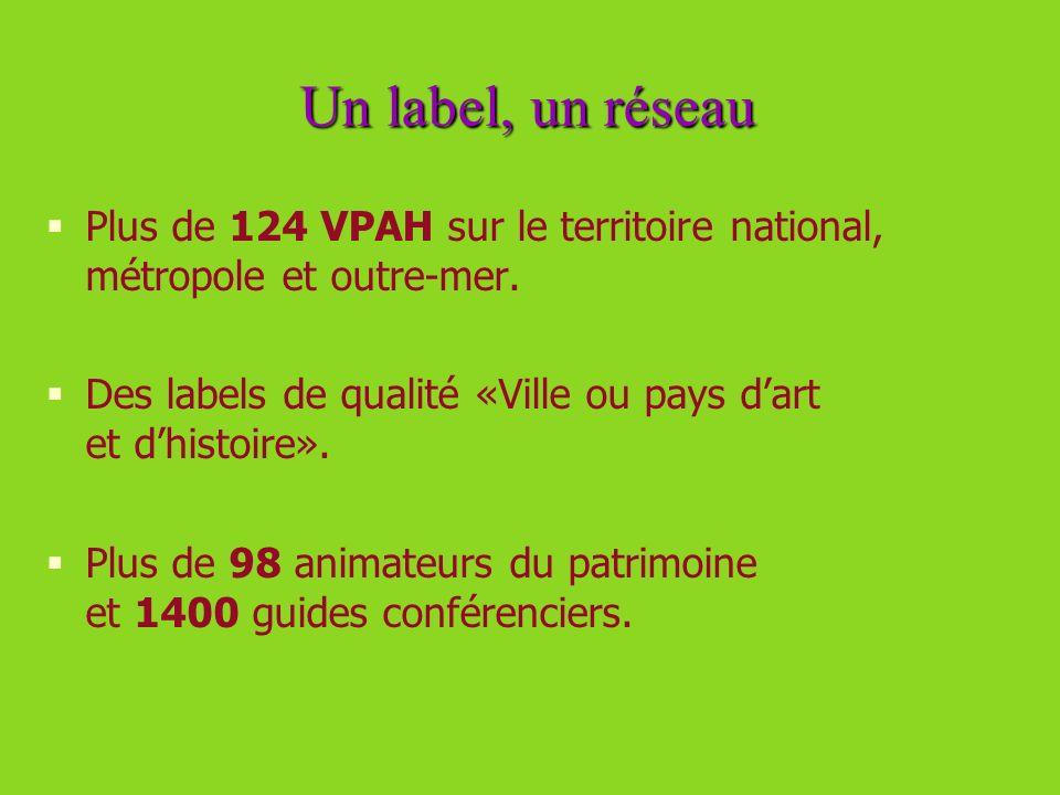 Un label, un réseau Plus de 124 VPAH sur le territoire national, métropole et outre-mer. Des labels de qualité «Ville ou pays d'art et d'histoire».