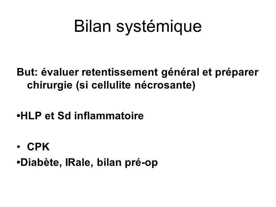 Bilan systémiqueBut: évaluer retentissement général et préparer chirurgie (si cellulite nécrosante)