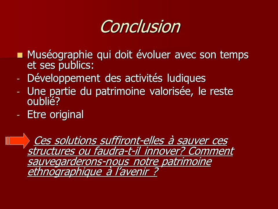 Conclusion Muséographie qui doit évoluer avec son temps et ses publics: Développement des activités ludiques.