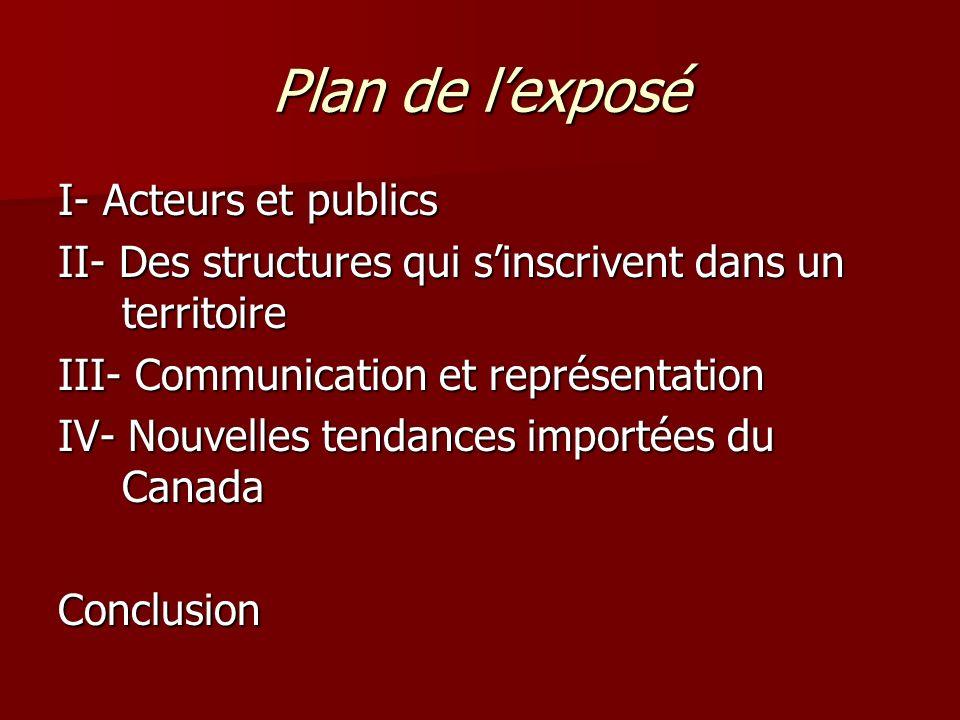 Plan de l'exposé I- Acteurs et publics