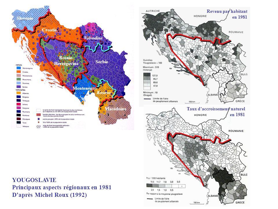 Principaux aspects régionaux en 1981 D'après Michel Roux (1992)