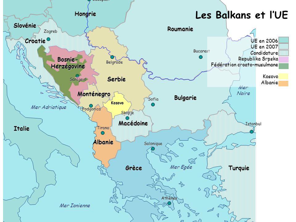 Les Balkans et l'UE Autriche Hongrie Slovénie Roumanie Croatie Bosnie-