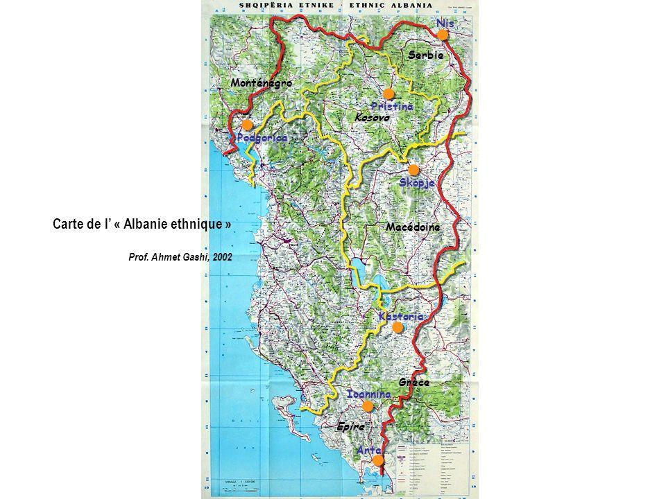 Carte de l' « Albanie ethnique »