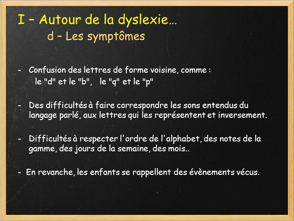 I – Autour de la dyslexie… d – Les symptômes