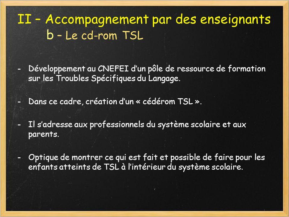 II – Accompagnement par des enseignants b – Le cd-rom TSL