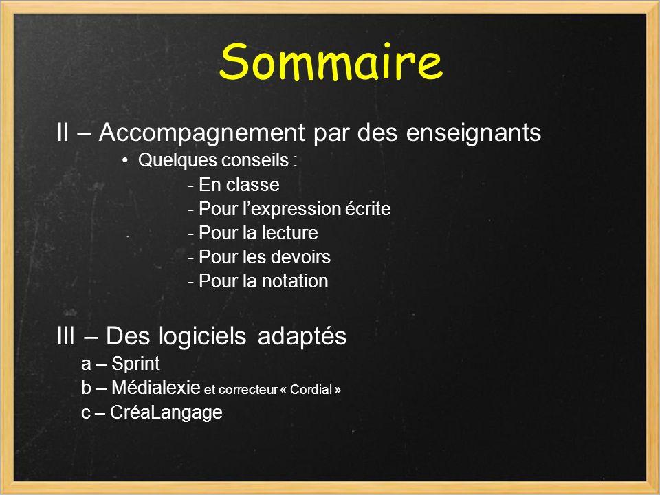 Sommaire II – Accompagnement par des enseignants