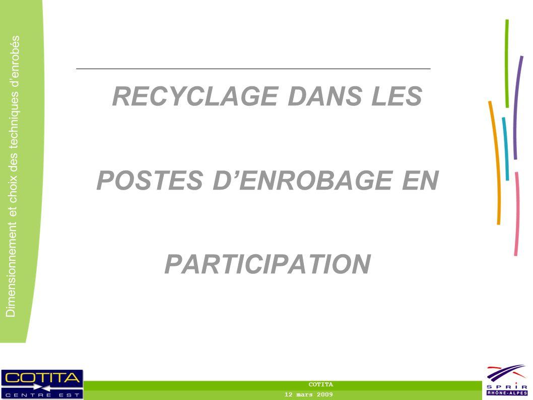 RECYCLAGE DANS LES POSTES D'ENROBAGE EN PARTICIPATION
