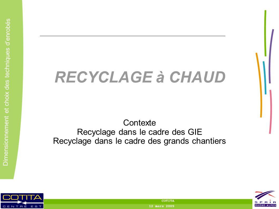 RECYCLAGE à CHAUD Contexte Recyclage dans le cadre des GIE