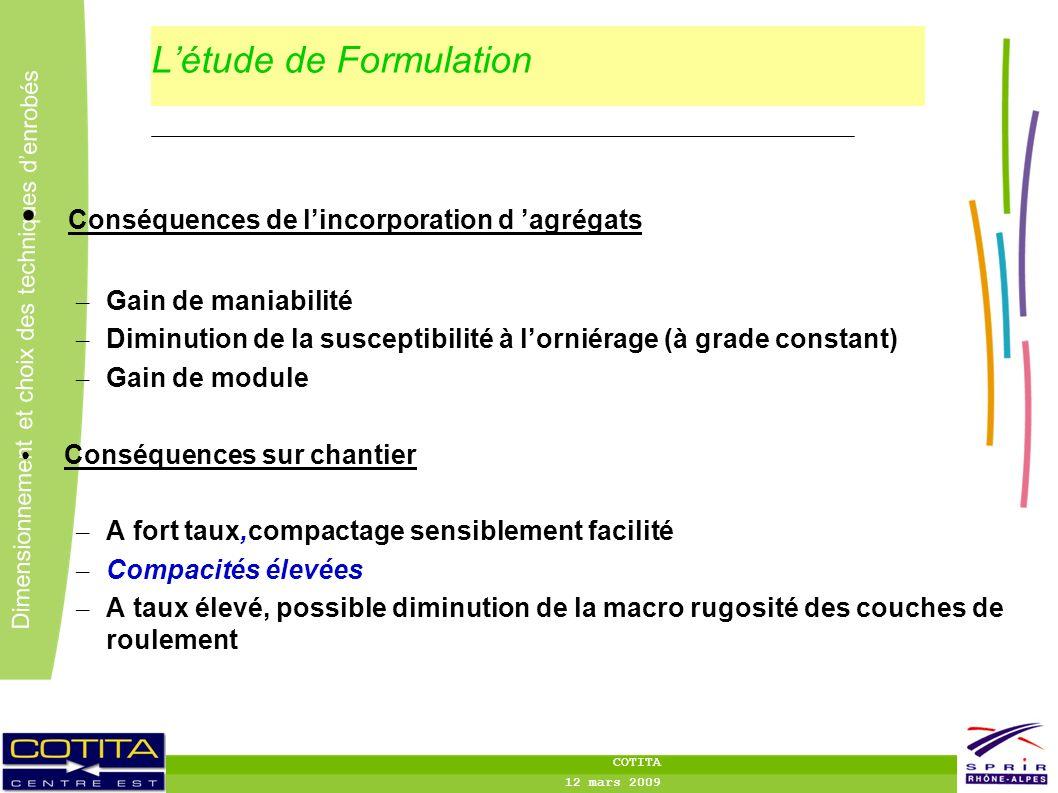 L'étude de Formulation