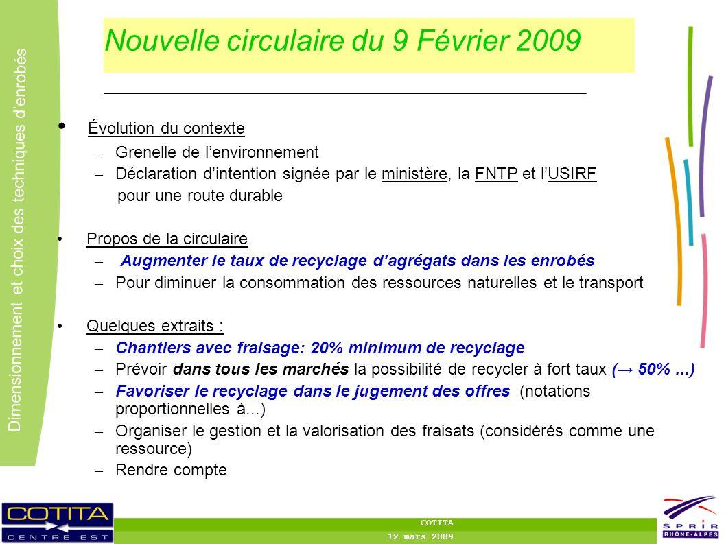 Nouvelle circulaire du 9 Février 2009