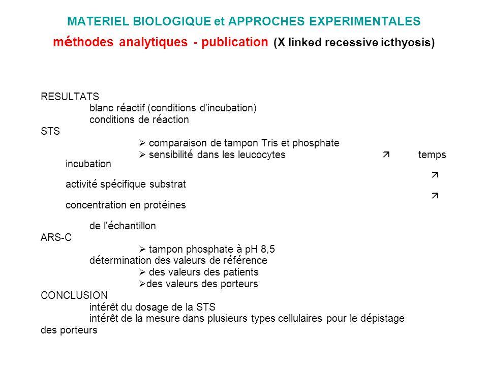 MATERIEL BIOLOGIQUE et APPROCHES EXPERIMENTALES méthodes analytiques - publication (X linked recessive icthyosis)
