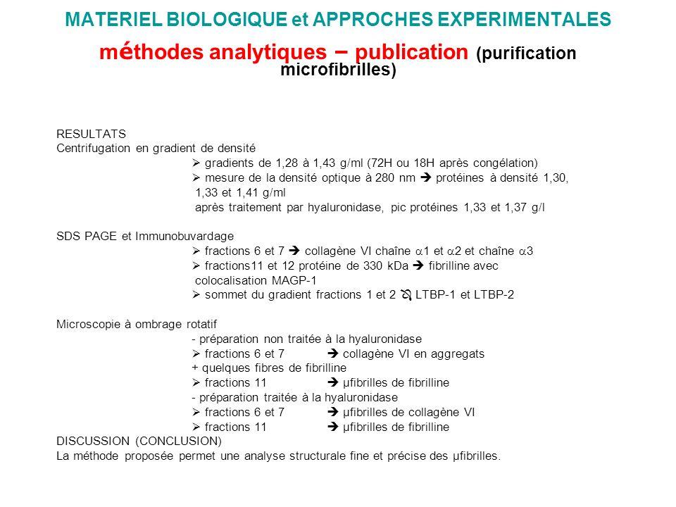 MATERIEL BIOLOGIQUE et APPROCHES EXPERIMENTALES méthodes analytiques – publication (purification microfibrilles)