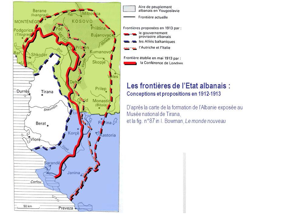 Les frontières de l'Etat albanais :