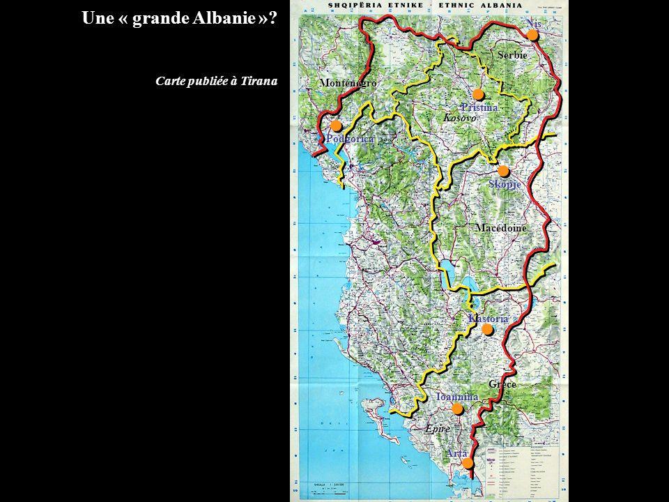 Une « grande Albanie » Carte publiée à Tirana Nis Serbie Monténégro