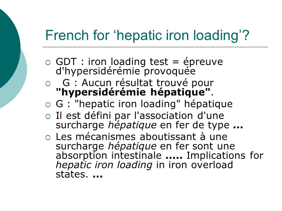 French for 'hepatic iron loading'