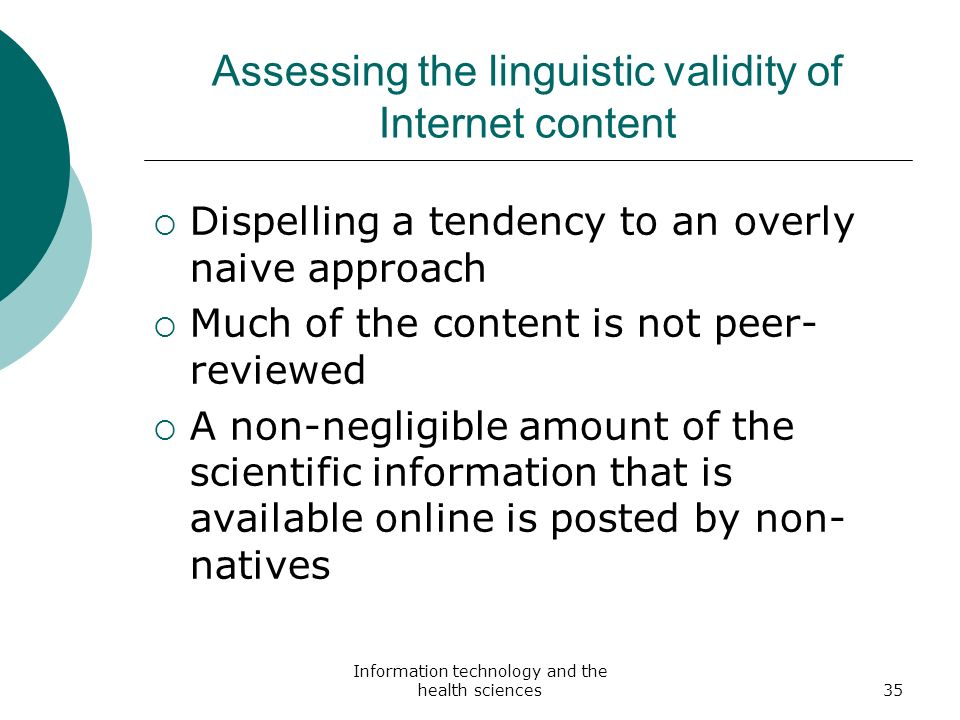 Assessing the linguistic validity of Internet content