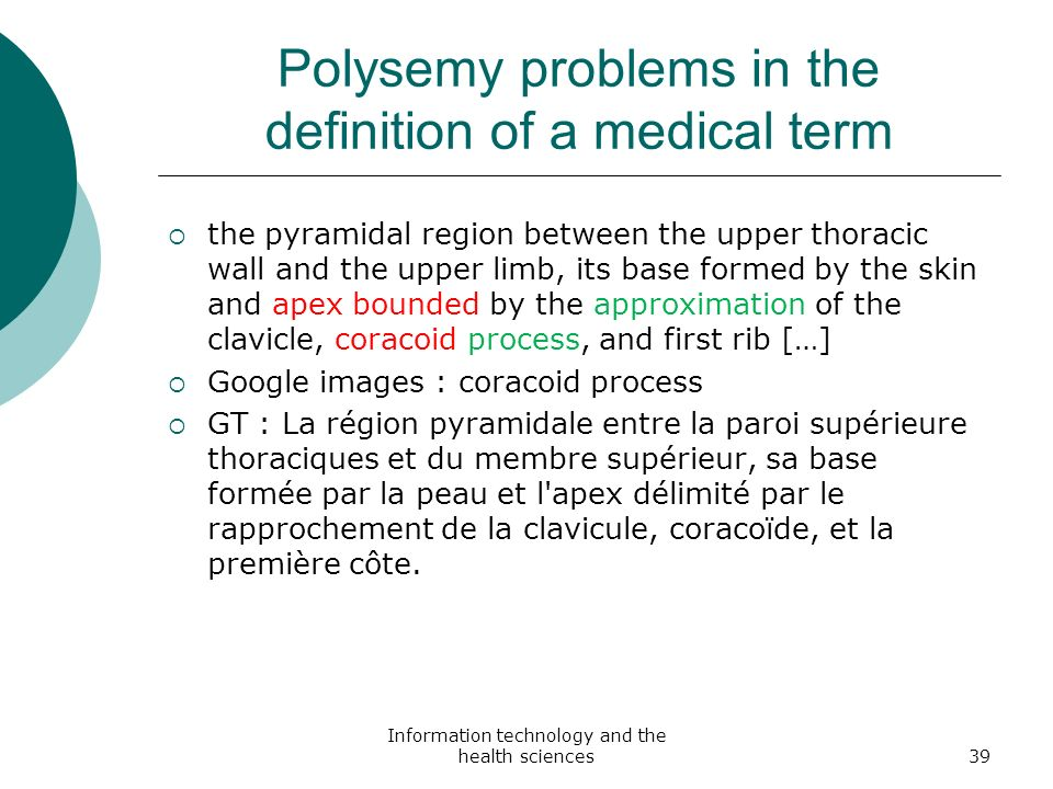 Polysemy problems in the definition of a medical term