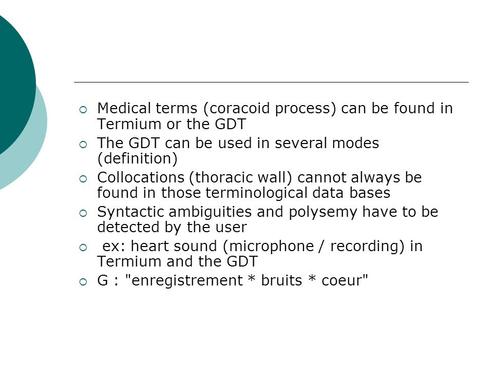 Medical terms (coracoid process) can be found in Termium or the GDT