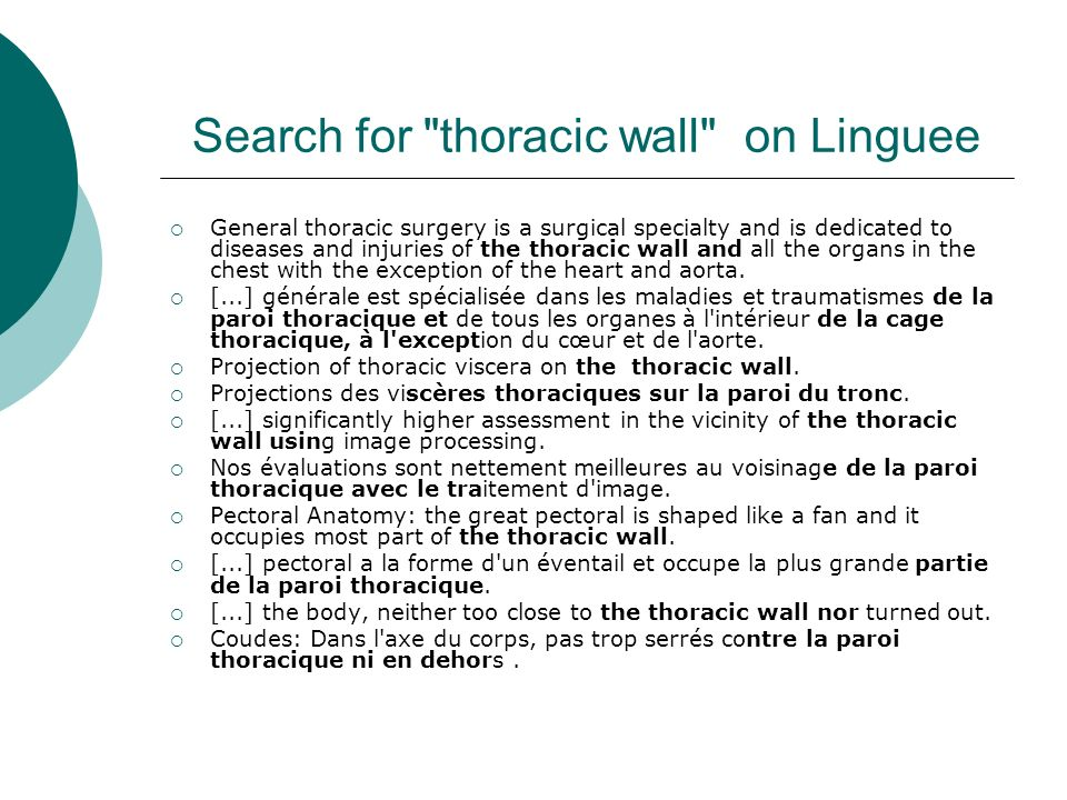 Search for thoracic wall on Linguee