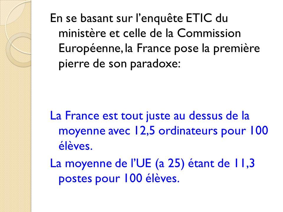 En se basant sur l'enquête ETIC du ministère et celle de la Commission Européenne, la France pose la première pierre de son paradoxe: La France est tout juste au dessus de la moyenne avec 12,5 ordinateurs pour 100 élèves.