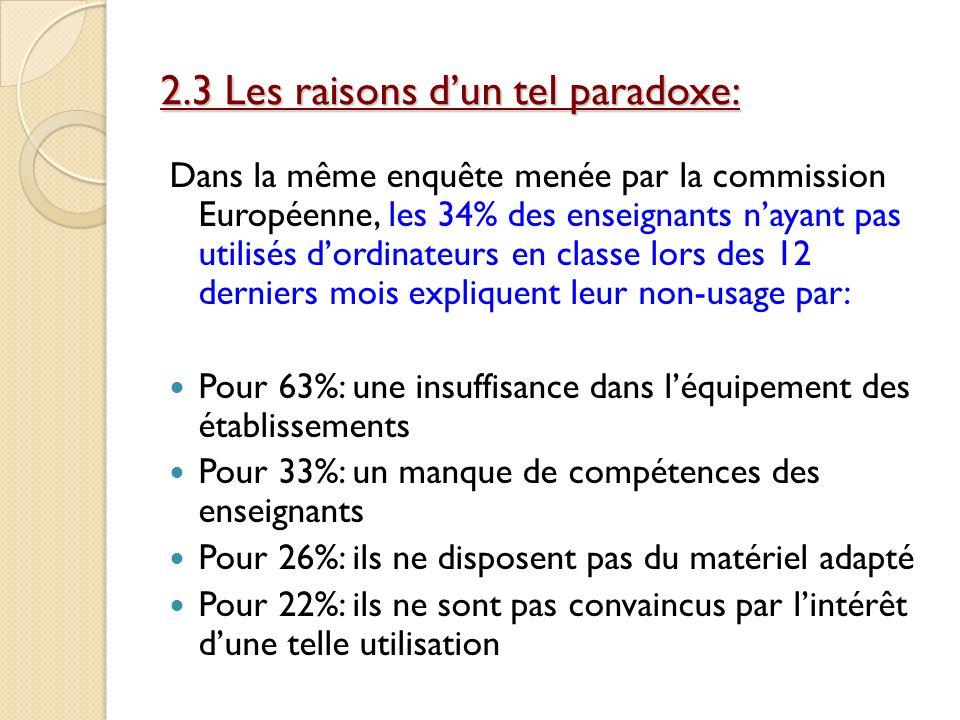 2.3 Les raisons d'un tel paradoxe: