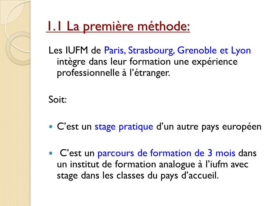 1.1 La première méthode:Les IUFM de Paris, Strasbourg, Grenoble et Lyon intègre dans leur formation une expérience professionnelle à l'étranger.
