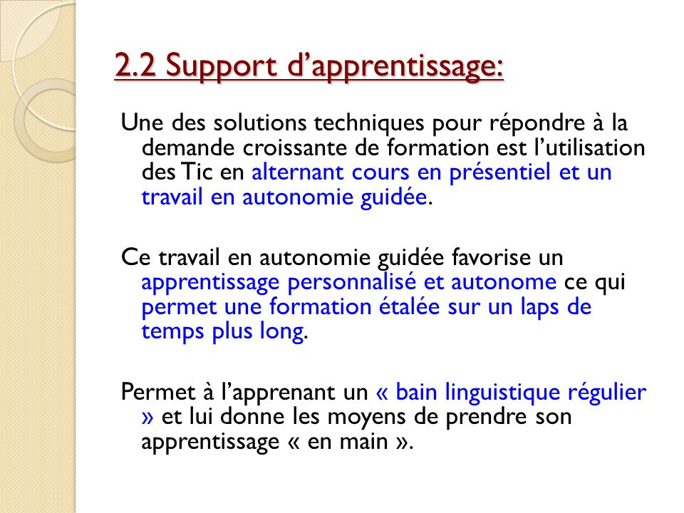 2.2 Support d'apprentissage: