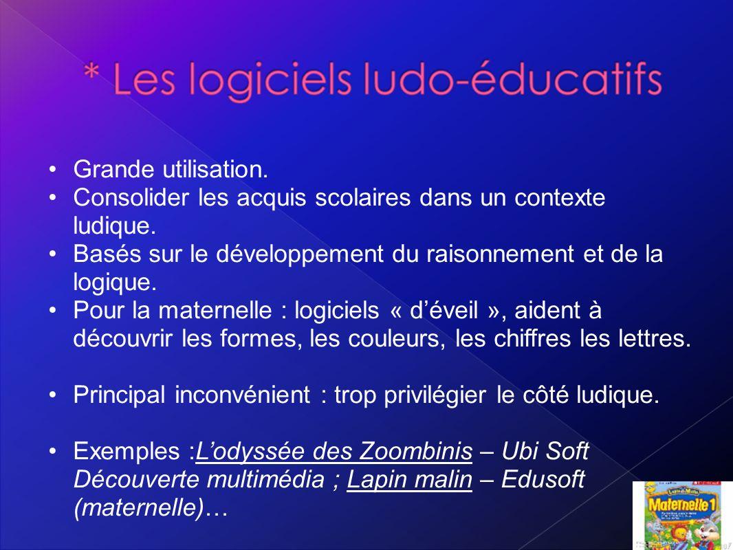 Grande utilisation. Consolider les acquis scolaires dans un contexte ludique. Basés sur le développement du raisonnement et de la logique.