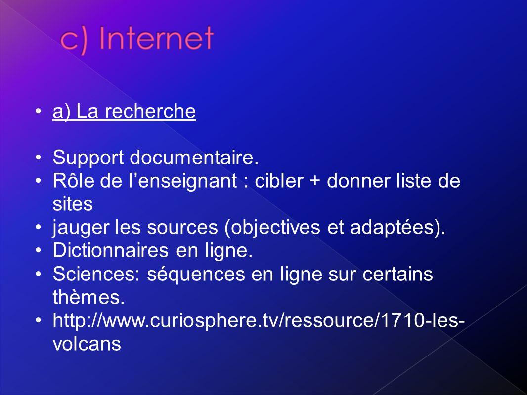 a) La recherche Support documentaire. Rôle de l'enseignant : cibler + donner liste de sites. jauger les sources (objectives et adaptées).