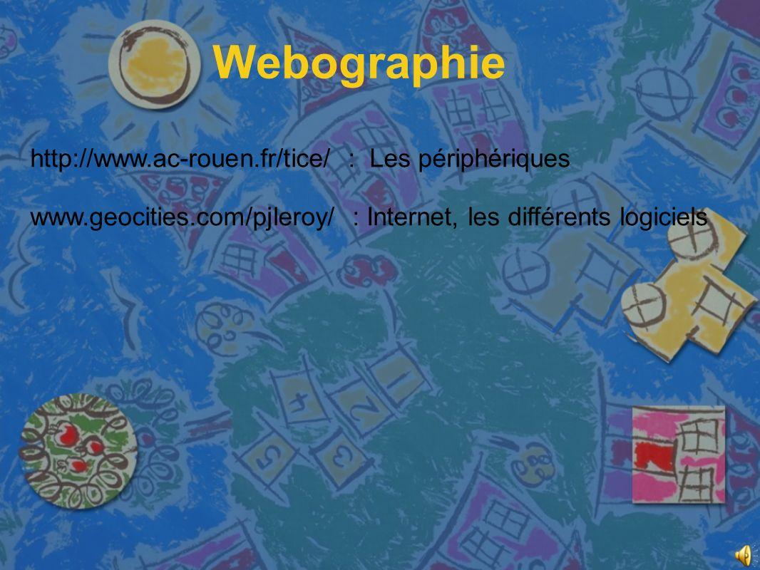 Webographie http://www.ac-rouen.fr/tice/ : Les périphériques