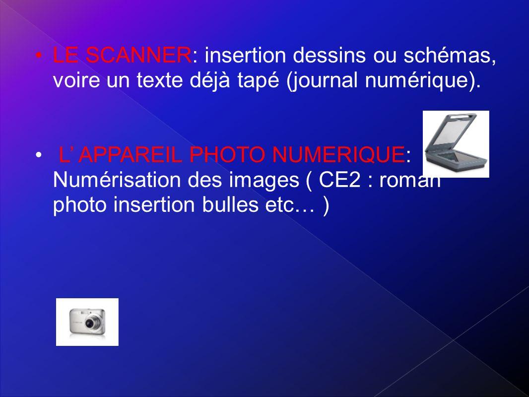 LE SCANNER: insertion dessins ou schémas, voire un texte déjà tapé (journal numérique).