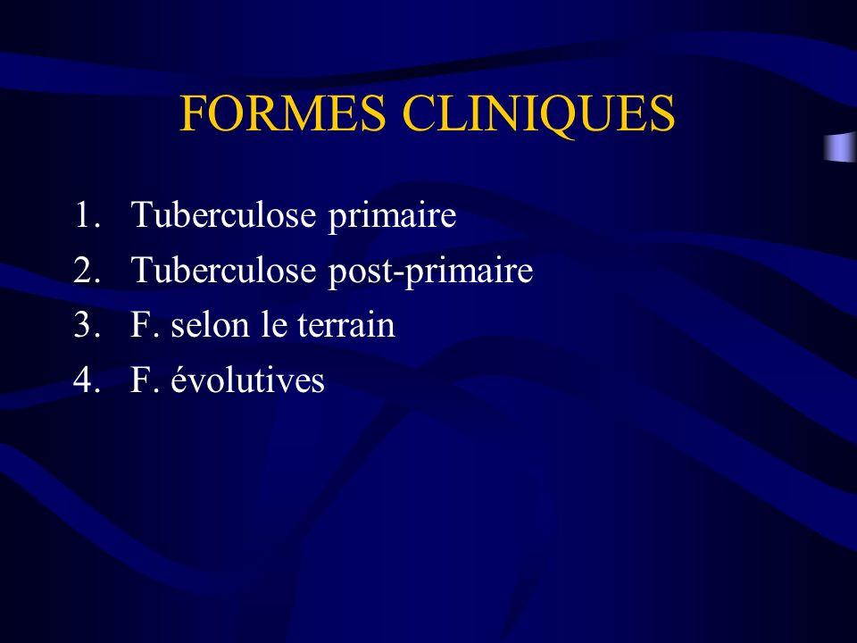 FORMES CLINIQUES Tuberculose primaire Tuberculose post-primaire