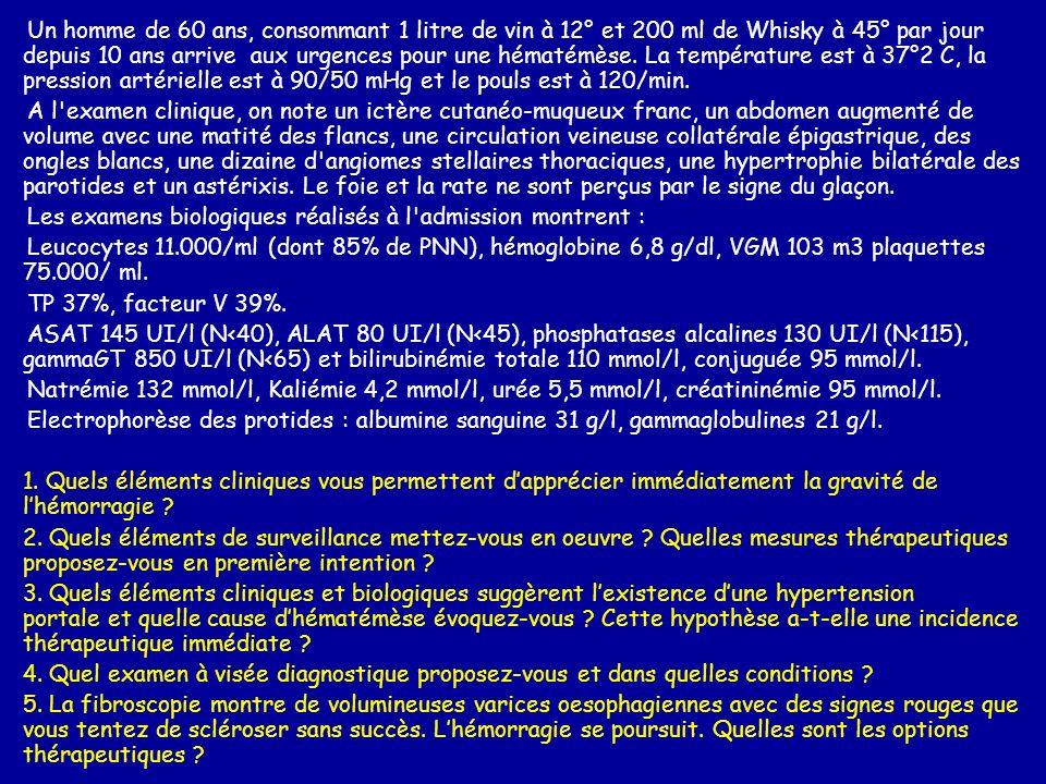 Un homme de 60 ans, consommant 1 litre de vin à 12° et 200 ml de Whisky à 45° par jour depuis 10 ans arrive aux urgences pour une hématémèse. La température est à 37°2 C, la pression artérielle est à 90/50 mHg et le pouls est à 120/min.