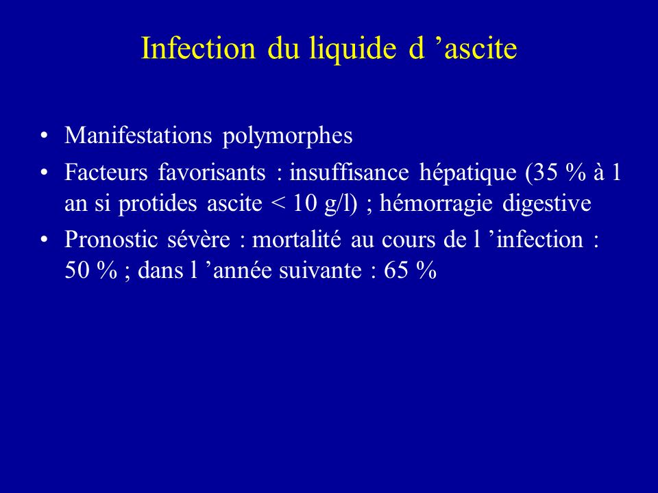 Infection du liquide d 'ascite