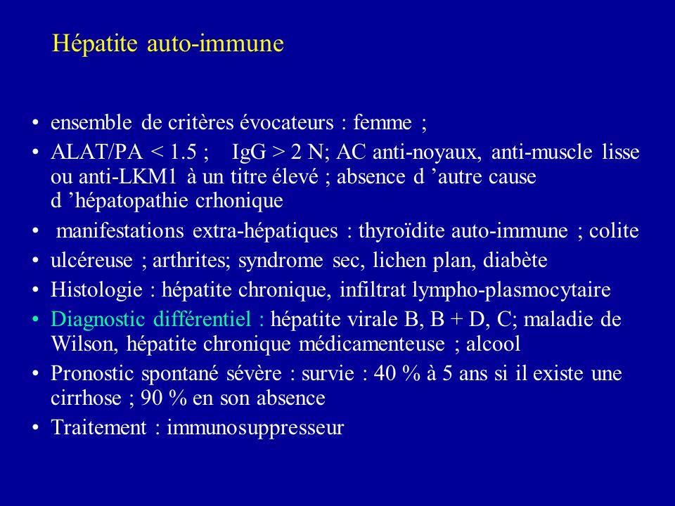 Hépatite auto-immune ensemble de critères évocateurs : femme ;