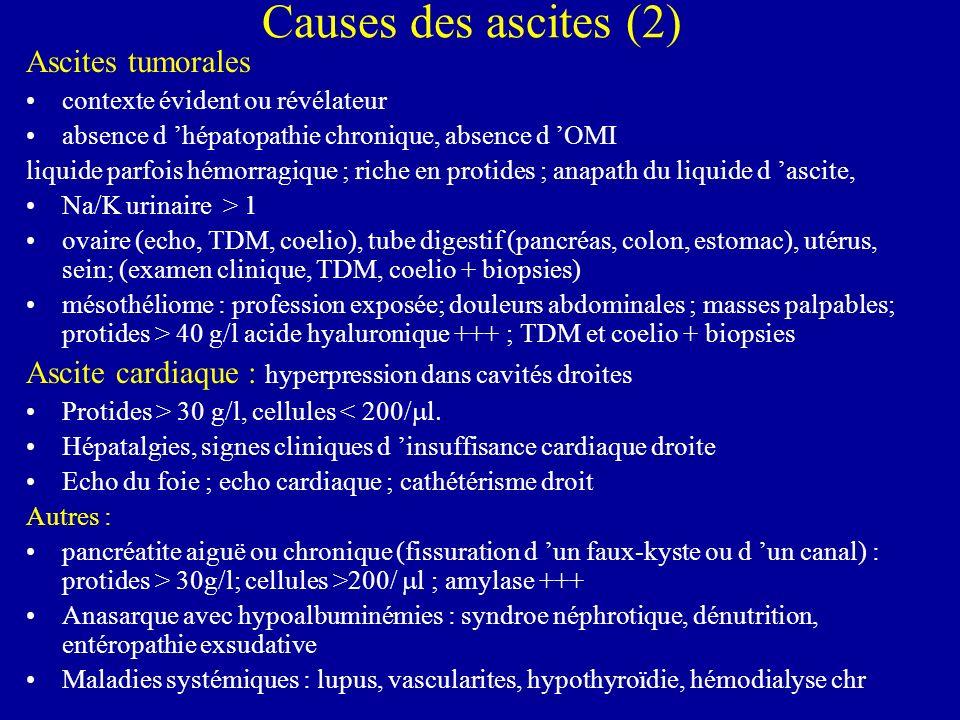 Causes des ascites (2) Ascites tumorales