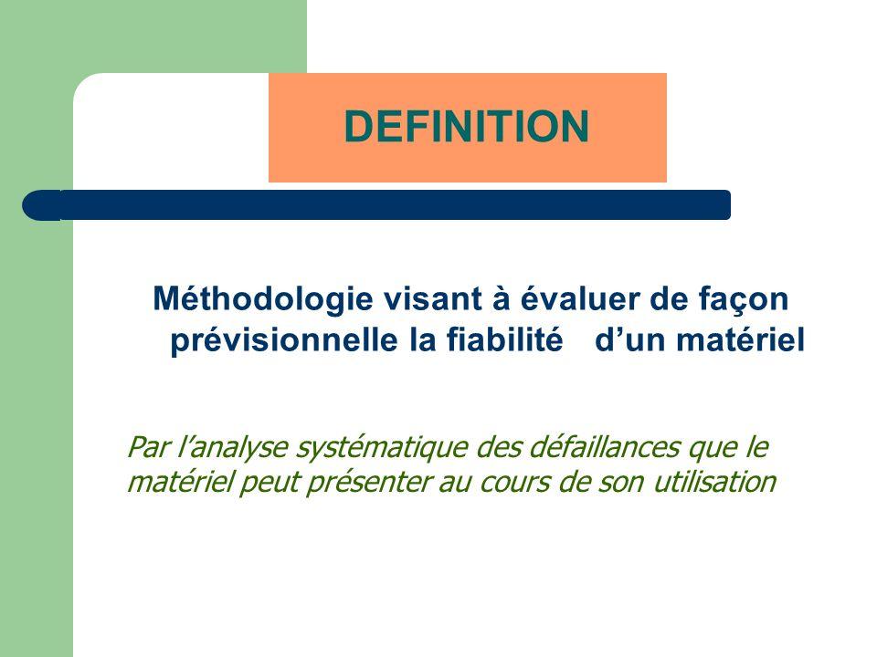 DEFINITION Méthodologie visant à évaluer de façon prévisionnelle la fiabilité d'un matériel. Par l'analyse systématique des défaillances que le.