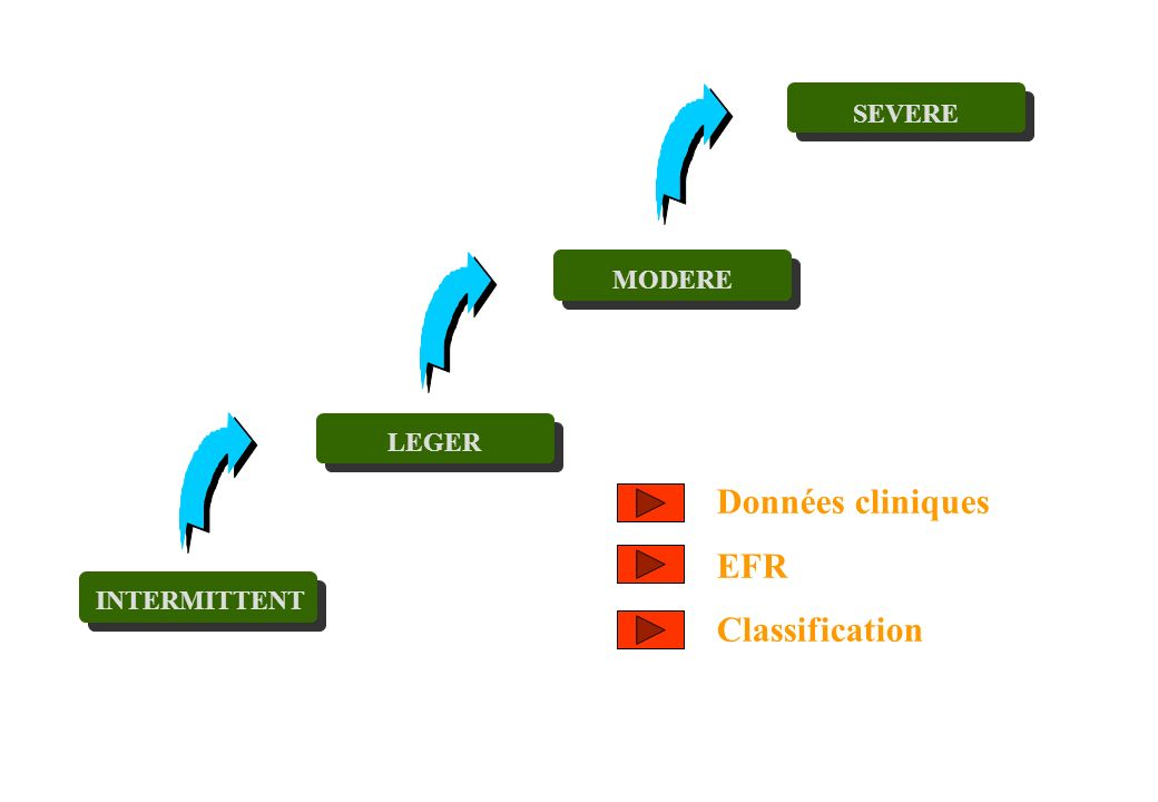 SEVERE MODERE LEGER Données cliniques EFR Classification INTERMITTENT