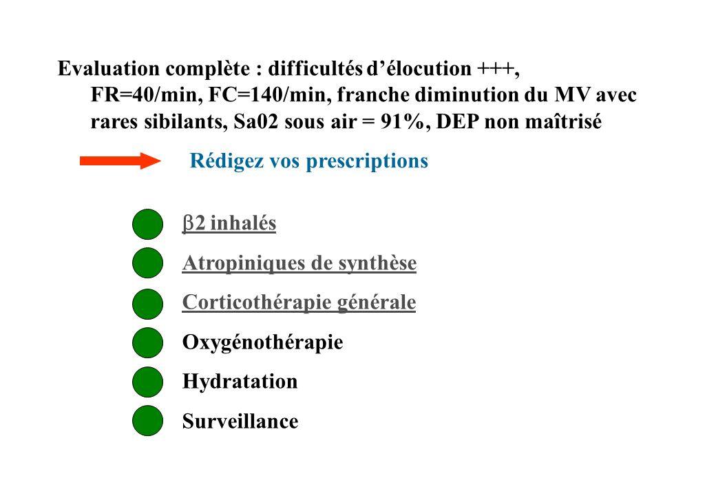 Evaluation complète : difficultés d'élocution +++, FR=40/min, FC=140/min, franche diminution du MV avec rares sibilants, Sa02 sous air = 91%, DEP non maîtrisé