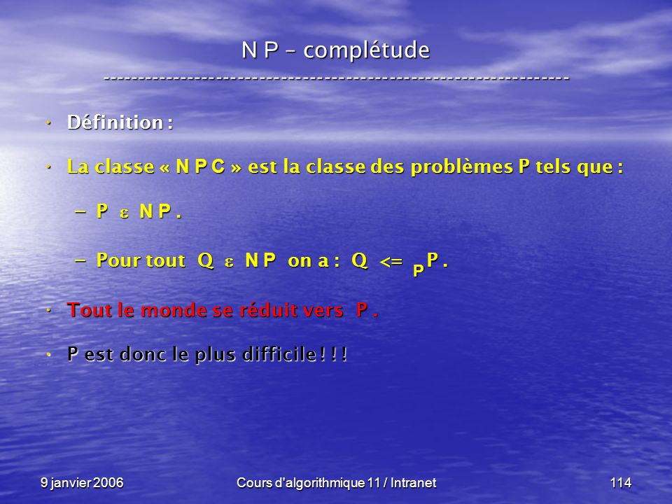Cours d algorithmique 11 / Intranet